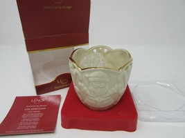 LENOX CHINA TEALIGHT HOLIDAY CANDLE MERRY LIGHTS SANTA CLAUS & CANDY CAN... - $7.87