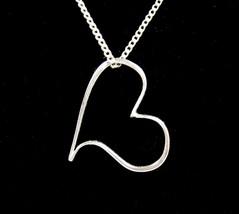 "NECKLACE Vintage FLOATING HEART PENDANT Silvertone TRIFARI For Love 18"" - $18.99"