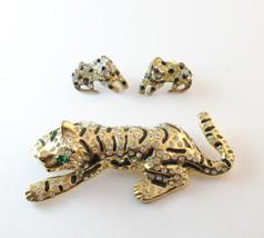 Vintage Large WEN Tiger Rhinestone Brooch & Spotted Leopard Earrings Gol... - $75.00