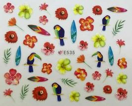 Nail Art 3D Decal Stickers Tropical Birds & Flowers Toucan Bird E535 - $3.19