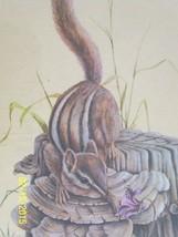 Vintage Chipmunk on Tree Stump  h moeller art print 8 x 10 - $9.89