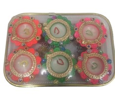 6 x DIY Diwali diya gift pack OIL LAMP traditional festival occasion lights - $15.84