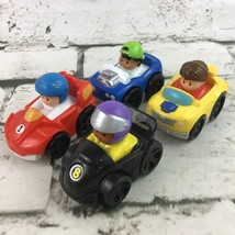 Fisher Price Little People Wheelies Assorted Lot Of 4 Racers Toy Cars Ma... - $14.84