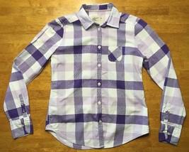 American Eagle Women's White & Purple Plaid Long Sleeve Dress Shirt - Si... - $14.84