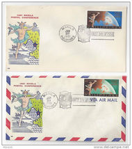 Philippines FDC Manila Postal Conference Sc 831 Airmail C87 Lot of 2 196... - $6.99