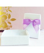 SET OF 6 WHITE JEWELRY BOXES FOR EARRINGS PURPLE BOW CHARM RING JEWELRY ... - $7.99