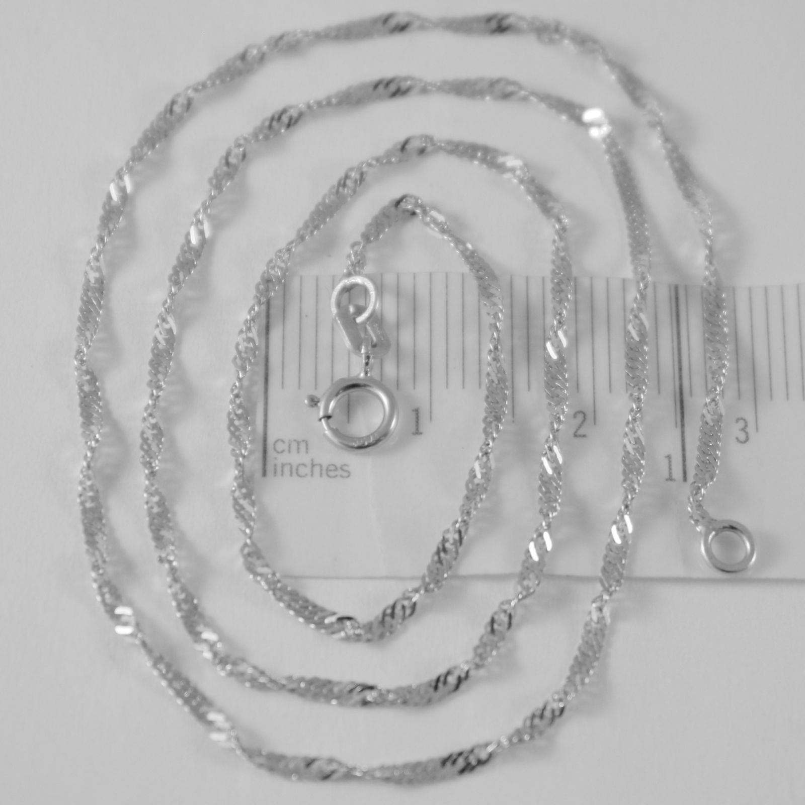 SOLID 18K WHITE GOLD SINGAPORE BRAID ROPE CHAIN 16 INCHES, 2 MM MADE IN ITALY