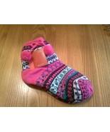 Aerosoles Slippers Sock Size 9-11 Non-Skid Non Slip hot pink cuff pom poms - $9.85