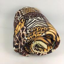 VTG Brown Leopard Print Patchwork Zip Sleeping Bag Glam Camp Festival Bl... - $14.16