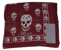 New Alexander McQueen $365 110640 Burgundy Grey SKULL Silk Chiffon Scarf - $153.45