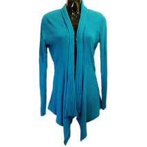 Teal Blue Open Cardigan Sweater Chaus Womens Size S Asymmetrical Lagenlo... - $19.79