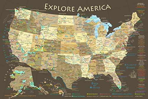 National Parks Map Poster and USA Travel Destinations Poster 36W x 24H inches