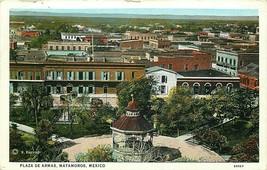 DB Mexico Postcard M355 Birds Eye View Plaza de Armas Matamoros Curt Teich - $7.00