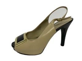 Nine West women's leather shoes platform open toe slingback size 8.5M - $17.37