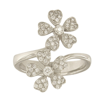 18k White Gold Diamond Double Flower Ring - $1,250.00