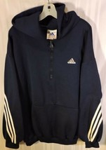 Men's vintage 80's adidas track jacket hoodie Blue white stripes XL USA ... - $47.45