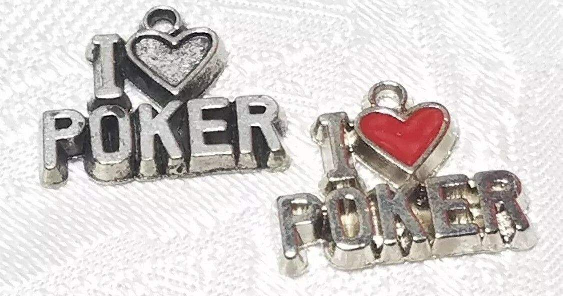 I HEART POKER FINE PEWTER PENDANT CHARM - 16x14x2mm