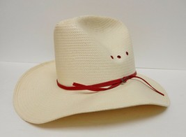STETSON 4X Straw Hat Cowboy Western Red Band w JBS STICKPIN 3 Hole 6 5/8... - $59.95