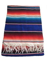 """Hand Woven Mexican Serape Saltillo Throw Blanket - X Large 60"""" x 84"""" Blue - $31.31 CAD"""