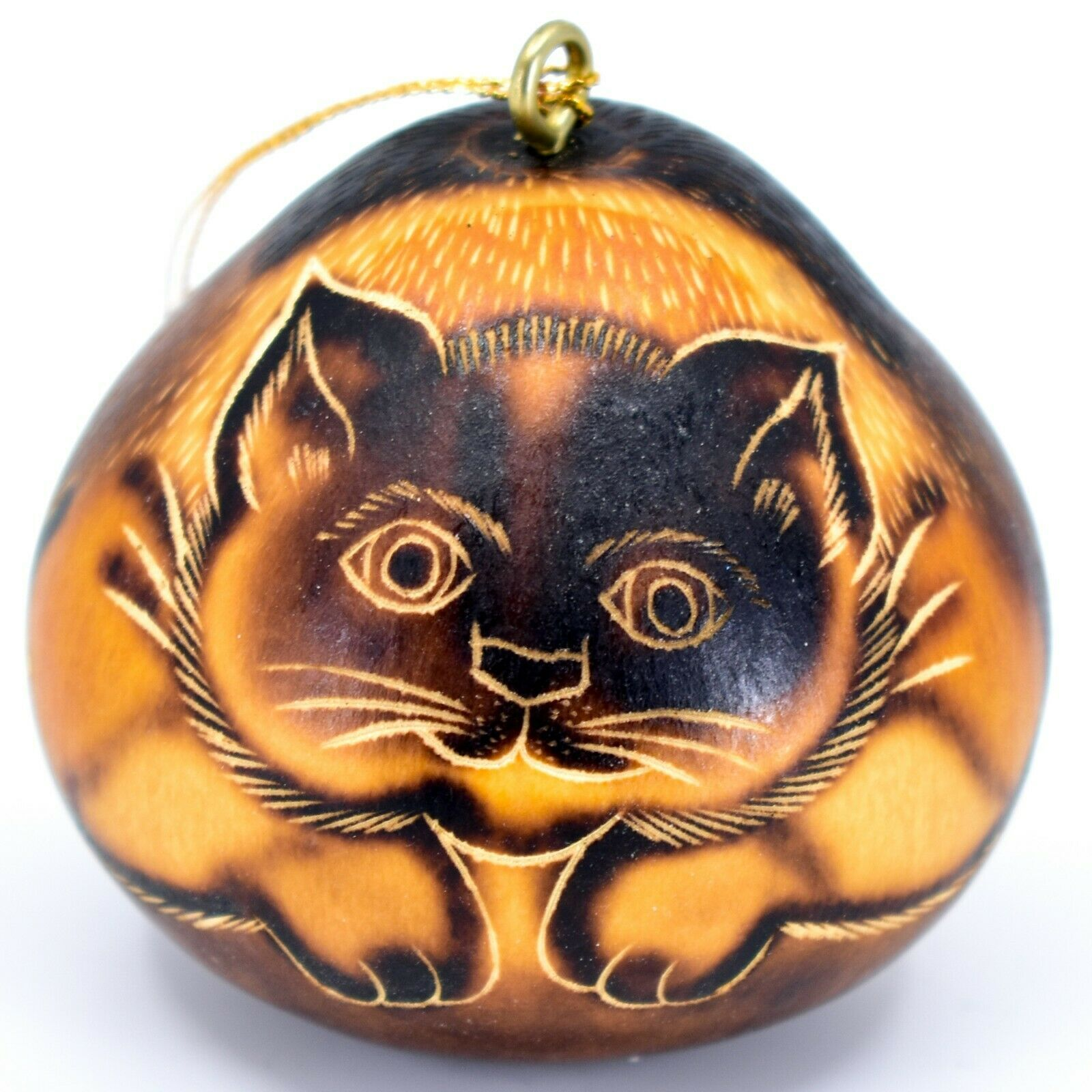 Handcrafted Carved Gourd Art Short Hair Cat Kitten Kitty Ornament Made in Peru