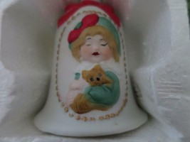 "Jasco Hand Painted Bow Bell Bisque Porcelain 5"" New Snow Bunny Girl W Cat Red Bo - $4.94"