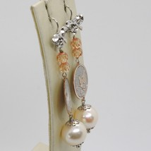 Earrings Silver 925 Tried and Tested Pendant with Pearl Peach Crystals & Bow image 2