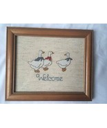 "Vintage Finished / Completed Handmade Cross Stitch ""Welcome"" Custom Frame - $33.66"