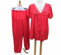 Kelly Reed 2 Piece Btn Top Pants Pajamas Large Red Satin Lace Nylon Vint... - $44.54
