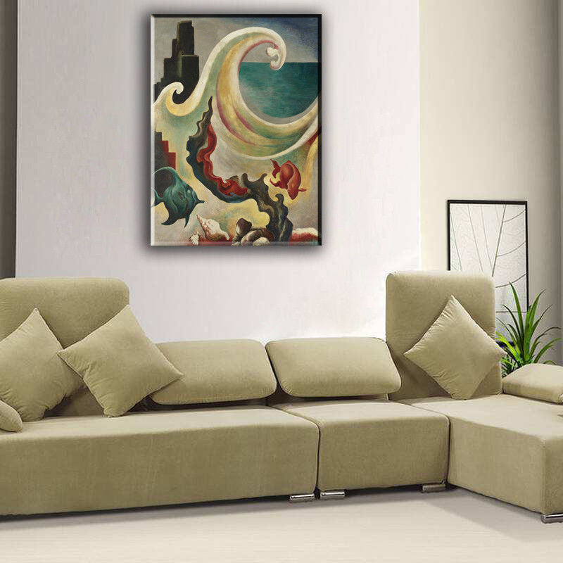 "Cartoon Art Home Decor Oil Painting Print On Canvas ""Fish And Ocean Waves"""