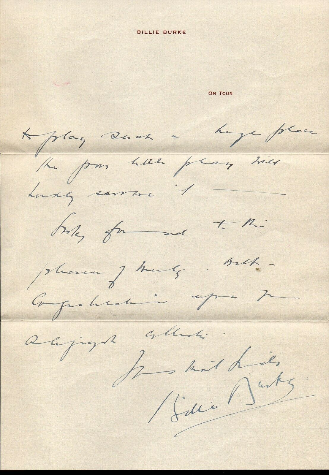 BILLIE BURKE Handwritten and signed letter. Nice autograph. The Wizard of Oz image 2
