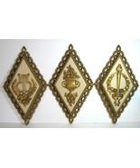 Vintage Homco Set 3 Greek Art Wall Hanging Hollywood Regency Decor Gold  - $24.74
