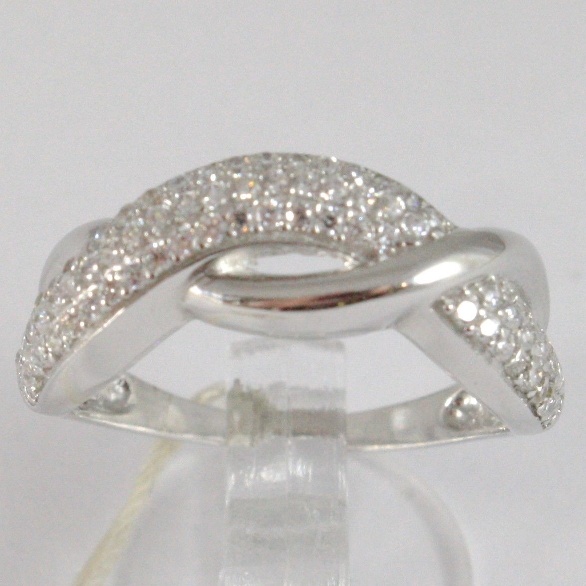 White Gold Ring 750 18k, veretta with Cubic Zirconium, Braided, Crimped