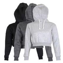 Fashion Womens Plain Crop Top Hoodie Hooded fullength Sleeves Sweatshirt Hangove