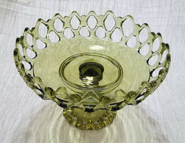 Vintage Westmoreland Doric Moss Green (Olive) Large Round Compote, circa... - $36.00