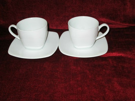 Fitz & Floyd Gourmet White set of 2 cups and saucers Square  - $9.85