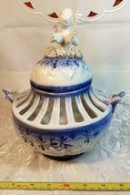 VINTAGE ORNATE BLUE AND WHITE CHERUB ON SPAGHETTI CLOUD  POTPOURRI URN image 10