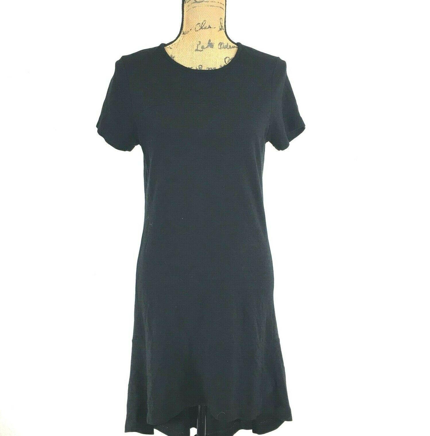 DKNY Donna Karan Dress Sm Black Short Sl Tee Shirt High Low A Line Shift Comfy