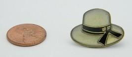 Late 1970's Early 1980's Woman's Gray Black Enamel Bucket Hat Lapel Pin E - $5.94