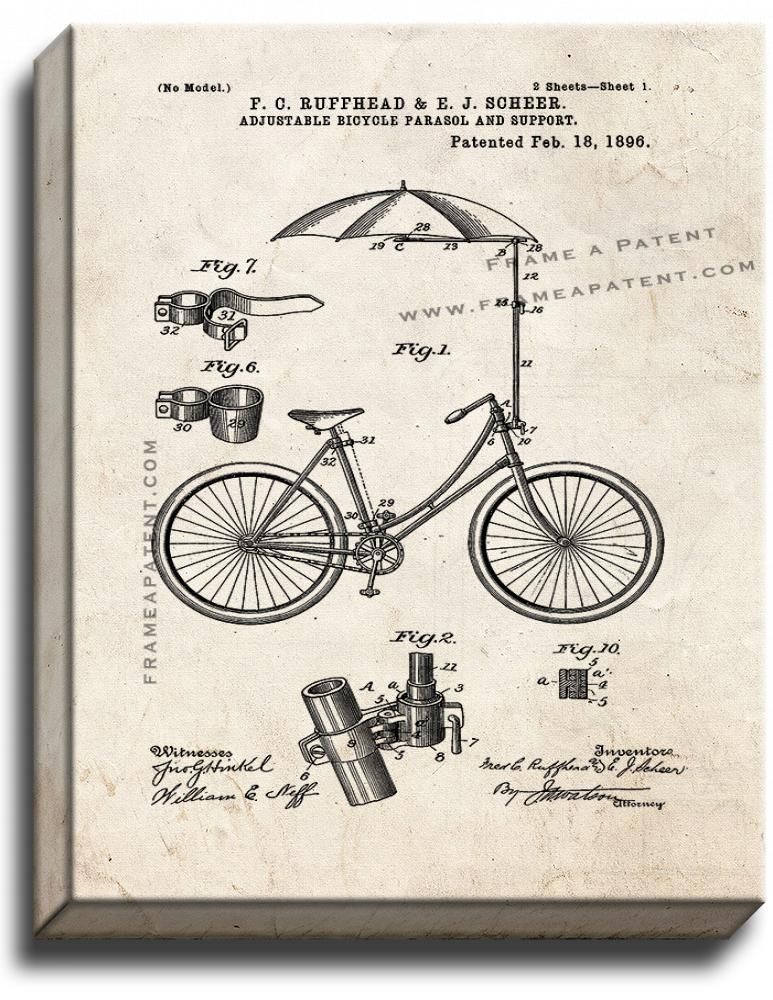 Primary image for Adjustable Bicycle Parasol And Support Patent Print Old Look on Canvas