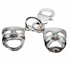 British Sterling Silver Drama Masks Tragedy Comedy Clip On Charm. Welded Bliss. - $19.45
