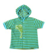 BT KIDS Beach Pool Bath Hooded Terry Towel Stripe Aqua Green Blue Frog T... - $7.91