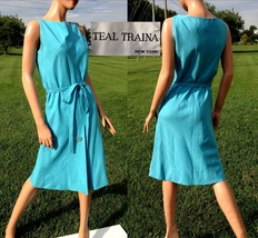 VTG 60s TEAL TRAINA Designer Dress~Sleeveless MOD Turquoise Linen Sheath... - £94.29 GBP