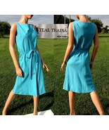 VTG 60s TEAL TRAINA Designer Dress~Sleeveless MOD Turquoise Linen Sheath... - $120.10