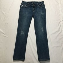 Ana Jeans Womens Sz 6P Distressed Low Rise Med Wash Stretch Blue Denim - $17.41