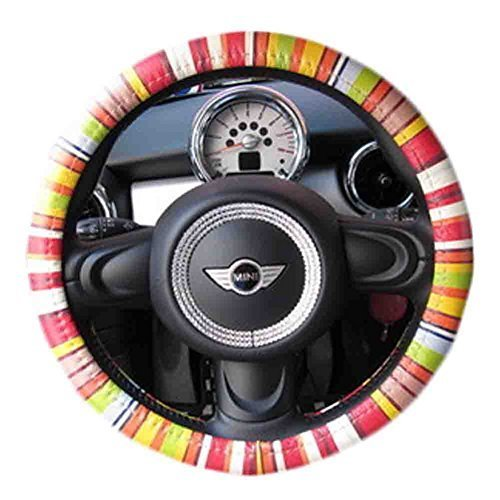 Personality Genuine Leather Steering Wheel Cover(Colour Bar)