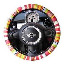 PANDA SUPERSTORE Personality Genuine Leather Steering Wheel Cover(Colour Bar)