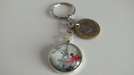 perspex domed Paris & butterfly coin c/w 10 Franc bi-metal coin keychain - $12.00+