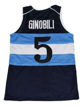 Manu Ginobili #5 Argentina New Men Basketball Jersey Navy Blue Any Size image 2