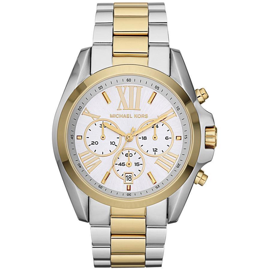 f963e53d2d31 57. 57. Previous. Michael Kors MK5627 Bradshaw Chronograph Silver and Gold  Tone Ladies Wrist Watch