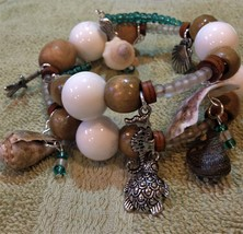 handcrafted memory wire wrap bracelet - SEA SHELLS - $35.00